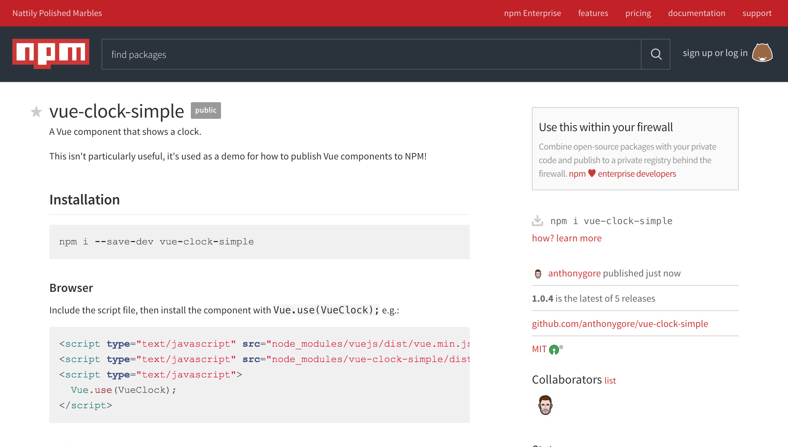 Published component on NPM