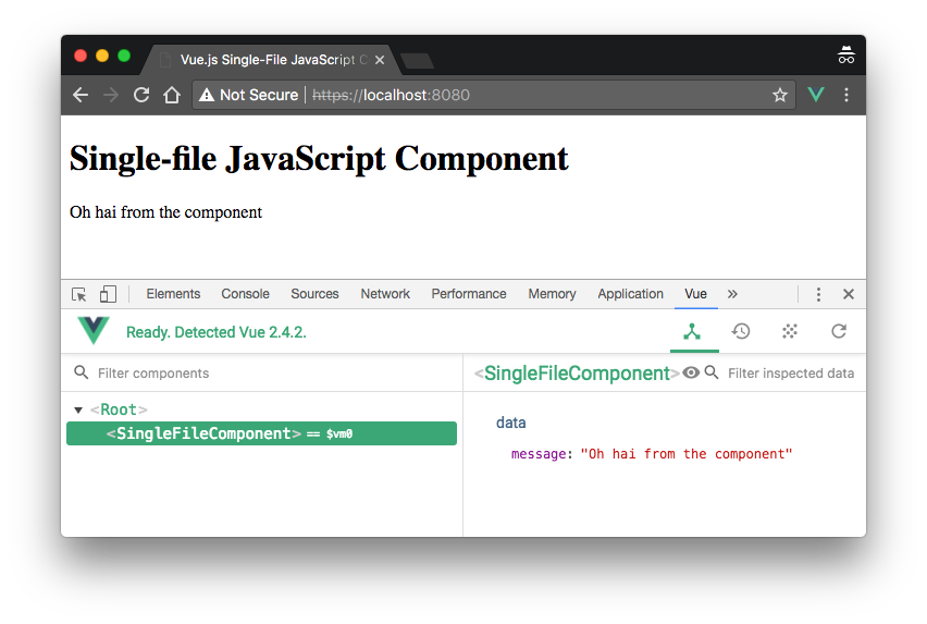 Project running in the browser. Shows Vue Devtools.